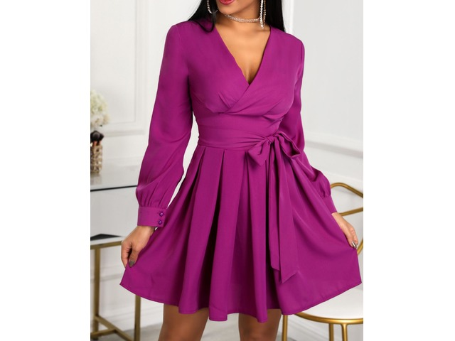 Lantern Sleeve Tie Waist Pleated Mini Dress. Style:Fashion Pattern Type:Solid Material:Polyester Neckline:Deep V Neck Sleeve Style:Long Sleeve Length:Mini Occasion:C... | free-classifieds-canada.com