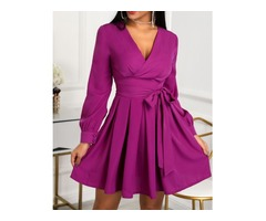 Lantern Sleeve Tie Waist Pleated Mini Dress | free-classifieds-canada.com