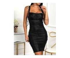 Eyelet Lace-Up Thin Strap PU Party Dress