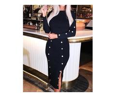 Metallic Botton Design Slit Long Sleeve Dress