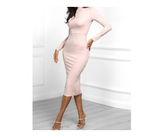 Solid Long Sleeve Side Slit Dress
