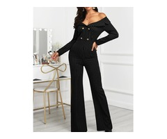 Stripes Double Breasted Off Shoulder Jumpsuit