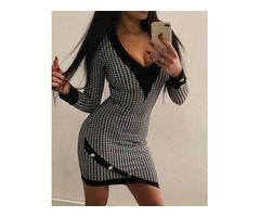 Houndstooth Contrast Binding Bodycon Dress