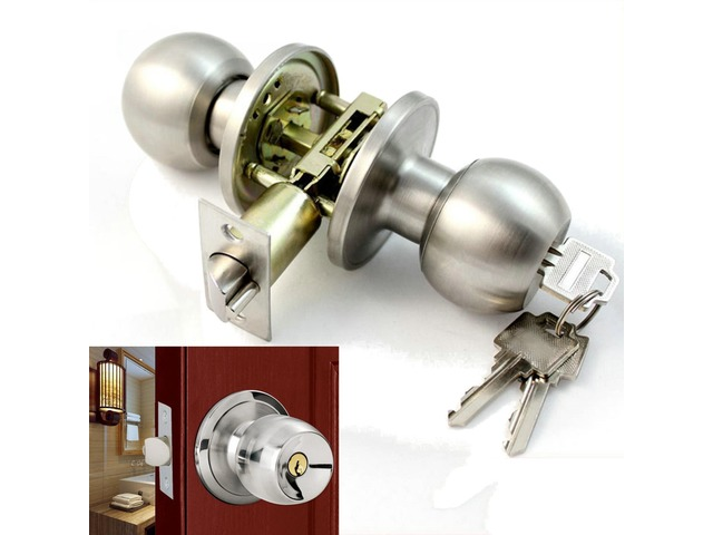 Stainless Steel Bathroom Round Door Knobs Set Handle Entrance Lock With Key | FreeAds.info