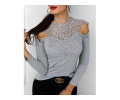 Appliqued Hollow Out Splicing Blouse