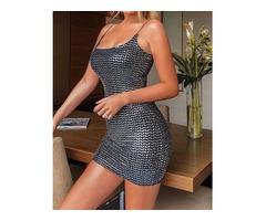 Spaghetti Strap Glitter Bodycon Dress