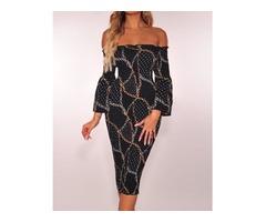 Chains Print Off Shoulder Midi Dress