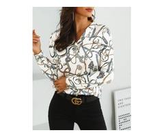 Chain Print V-Neck Casual Shirt
