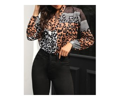 Leopard Print Long Sleeve Wrap Blouse