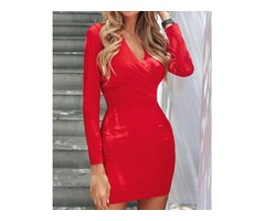 Solid Deep V Ruched Bodycon Dress