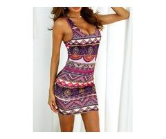 Ethnic Print Sleeveless Bodycon Dress
