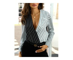 V-Neck Colorblock Striped Panel Casual Shirt