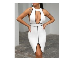 Contrast Binding Cut Out Party Dress