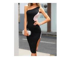 One Shoulder Colorblock Side Slit Dress