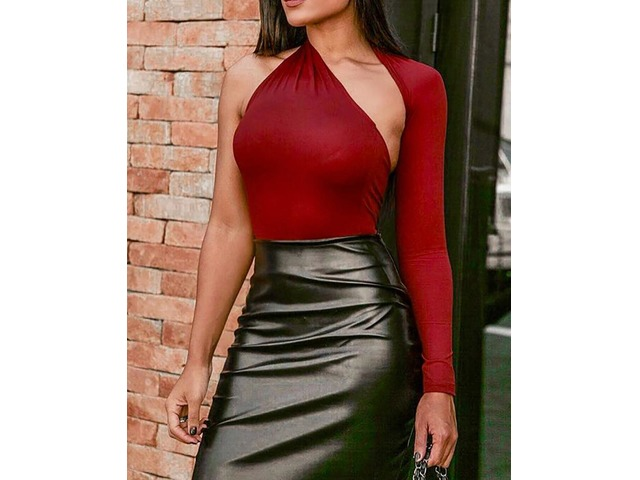Solid One Shoulder Cutout Bodysuit | FreeAds.info