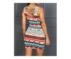 Colorful Print Bowknot Detail Bodycon Dress