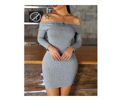 Solid Off Shoulder Fold-Over Long Sleeve Mini Dress