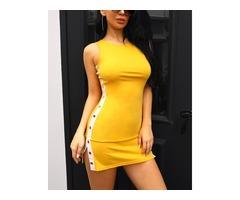 Contrast Color Snap-Button Side Bodycon Dress