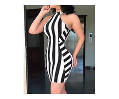 Halter Striped Bodycon Mini Dress