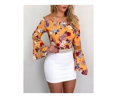 Frill Hem Bell Sleeve Floral Print Blouse