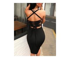 Sexy Bandage Strappy Back Bodycon Dress