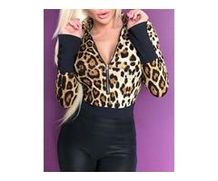 Leopard Print Contrast Cuff Bodysuit