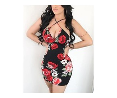Red Roses Print Criss Cross Neck Strappy Dress | free-classifieds.co.uk