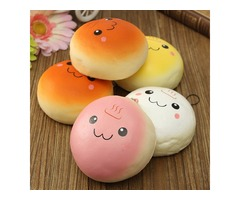 10CM Cute Smiling Expression Kawaii Squishy Bread Keychain Bag Phone Charm Strap