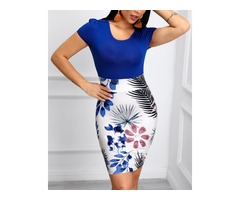 Short Sleeve Tropical Print Bodycon Dress | free-classifieds.co.uk