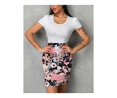 Short Sleeve Floral Print Insert Bodycon Dress | free-classifieds.co.uk