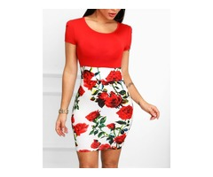 Floral Print Insert Short Sleeve Bodycon Dress | free-classifieds.co.uk