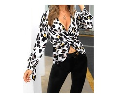 Leopard Print Long Sleeve Twisted Casual Shirt