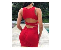 Cutout Crisscross Bandage Back Bodycon Dress