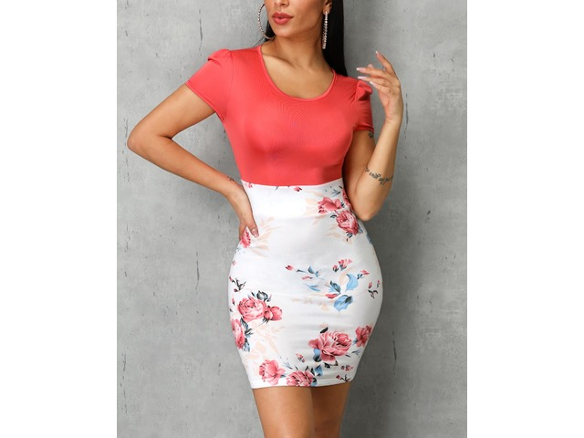 Short Sleeve Colorblock Floral Print Insert Dress | free-classifieds.co.uk
