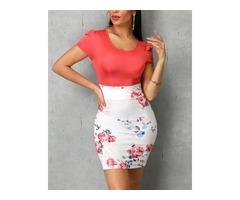 Short Sleeve Colorblock Floral Print Insert Dress