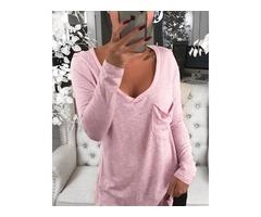 V-Neck Chest Pocket Long Sleeve T-Shirt
