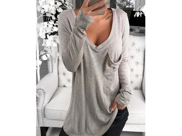 V-Neck Chest Pocket Long Sleeve T-Shirt | free-classifieds.co.uk