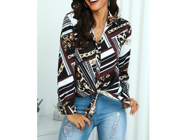 Mixed Chain Print Knot Front Blouse | free-classifieds.co.uk