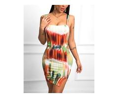 Thin Strap Color Block Cutout Bodycon Dress