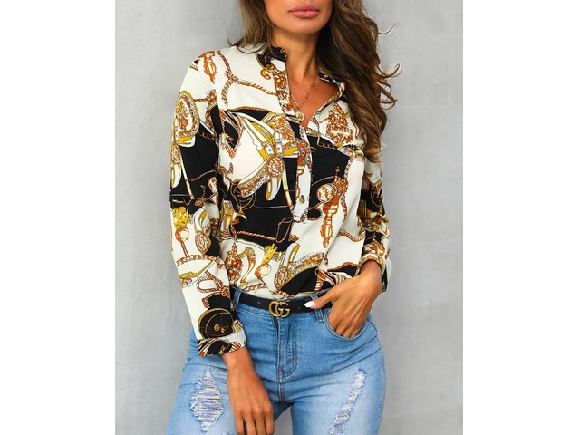 Scarf Print Button Detail Long Sleeve Blouse | free-classifieds.co.uk