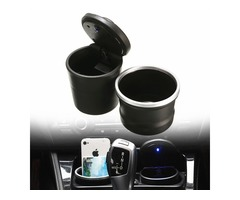 PBT Portable Detachable Car Ashtray Cigarette Smoke Cup Storage Holder with Blue LED Light for BMW