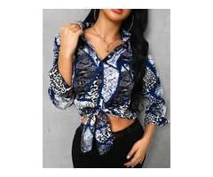 Snakeskin Print Knotted Detail Casual Shirt | free-classifieds.co.uk