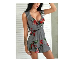 Deep V Ruffles Floral Print Mini Dress