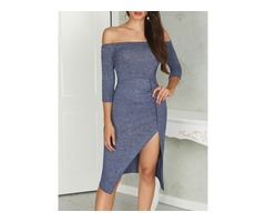 Metalic Off Shoulder Sexy Cocktail Party Pleated Dress | free-classifieds.co.uk