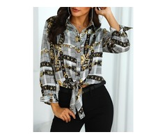 Knot Front Chain Print Casual Blouse | free-classifieds.co.uk