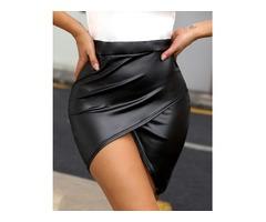 High Waist Surplice PU Slinky Skirt