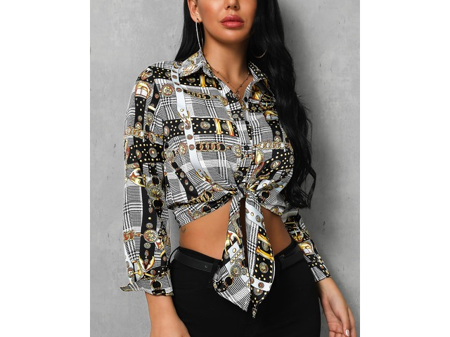 Knot Front Chain Print Casual Blouse   free-classifieds.co.uk