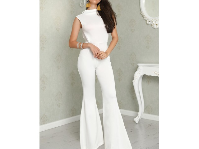 White Tie Open Back Petite Flared Jumpsuit | free-classifieds.co.uk