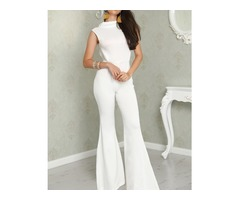 White Tie Open Back Petite Flared Jumpsuit