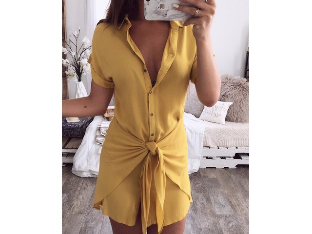 Solid Button Up Knot Front Mini Shirt Dress | free-classifieds.co.uk